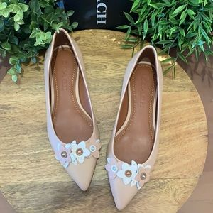 Coach Floral Applique Beechwood Leather Flats